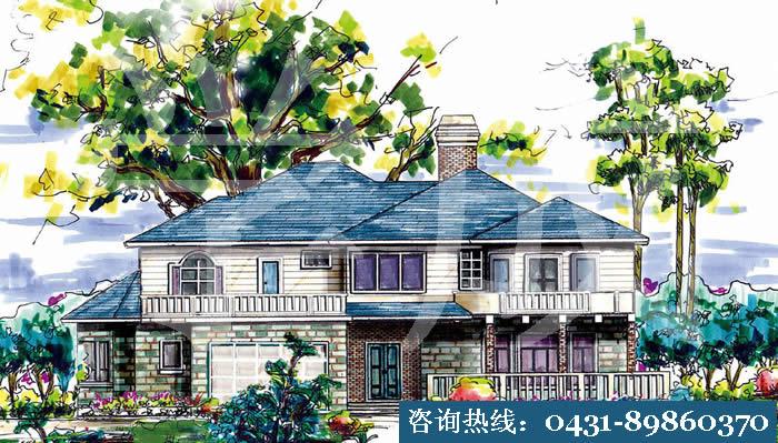 建筑手绘,别墅小院